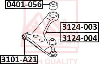 ASVA 3101-A21 - Сайлентблок, рычаг подвески колеса autosila-amz.com
