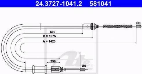 ATE 24.3727-1041.2 - Трос, стояночная тормозная система autosila-amz.com
