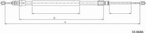 Cabor 10.6686 - Трос, стояночная тормозная система autosila-amz.com